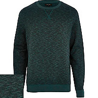 Dark green slub textured sweatshirt