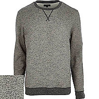 Grey slub textured sweatshirt