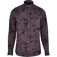 Purple VITO floral print long sleeve shirt