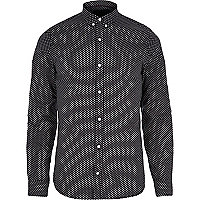 Black VITO tiny heart print long sleeve shirt