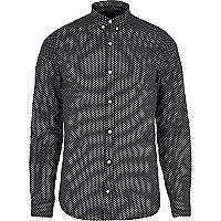 Black VITO tiny heart print long sleeve shirt