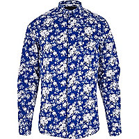 Blue VITO floral print long sleeve shirt