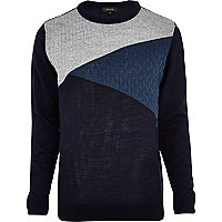 Navy blue triangle colour block jumper