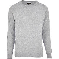 Grey dogtooth textured jumper
