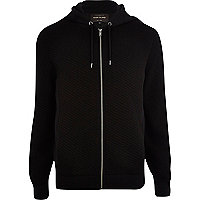 Black quilted zip through hoodie