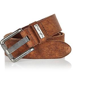Tan skinny belt