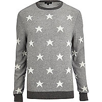 Grey textured star print jumper