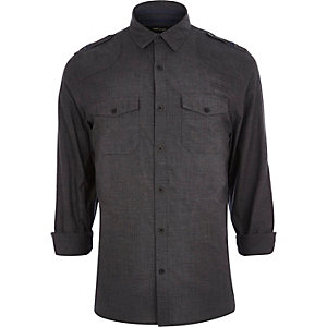 Grey crosshatch utility shirt