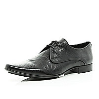 Black creased leather formal shoes