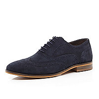 Navy suede brogues