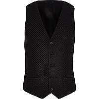 Black textured waistcoat