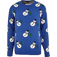 Blue snowman Christmas jumper