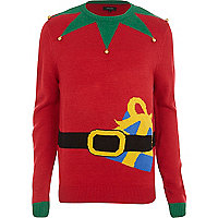 Red elf Christmas jumper