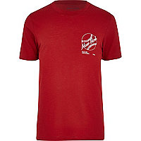Red New York baseball print t-shirt
