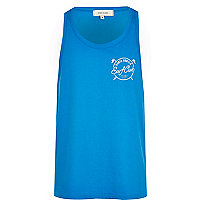 Blue surf club print vest