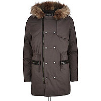Grey faux fur trim parka jacket