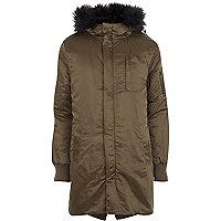 Khaki faux fur trim bomber parka jacket