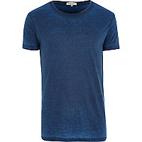 Dark blue burnout crew neck t-shirt