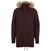Dark red faux fur trim parka jacket
