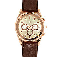 Brown classic gold face watch
