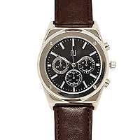 Brown classic silver tone face watch
