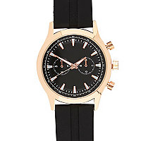 Black rubber triple dial watch
