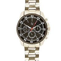 Silver tone black face bracelet watch