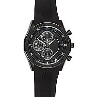 Black rubber triple dial watch