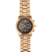Rose gold tone chunky bracelet watch