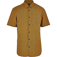 Mustard tile print short sleeve shirt
