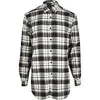 Grey longer length check shirt