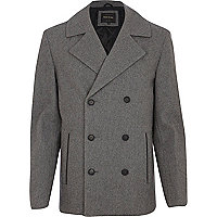 Light grey wool blend peacoat