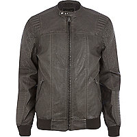 Grey leather-look bomber jacket