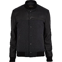 Black leather-look panel bomber jacket