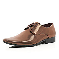 Brown metallic formal shoes