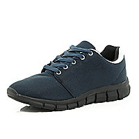 Navy contrast sole trainers