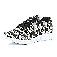 Grey camo print trainers