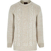 Ecru Holloway Road cable knit jumper