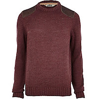 Dark red Tokyo Laundry shoulder patch jumper