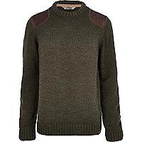 Khaki Tokyo Laundry shoulder patch jumper