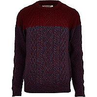 Dark red Tokyo Laundry colour block jumper