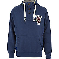 Navy Tokyo Laundry button neck hoodie