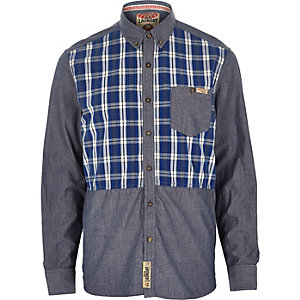 Blue Tokyo Laundry contrast check shirt