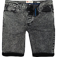 Black acid wash skinny stretch shorts
