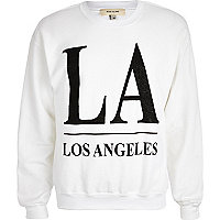 White LA beaded print sweatshirt