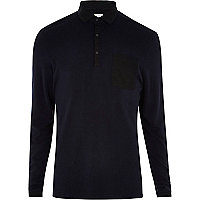 Navy RI Studio long sleeve polo shirt