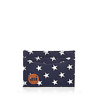 Navy Mipac star print card holder