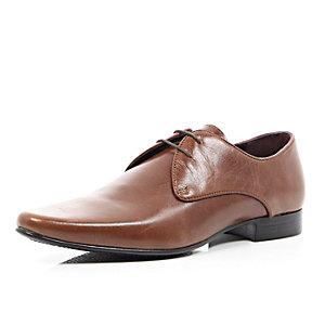 Brown high shine leather formal shoes