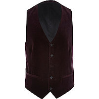 Purple velvet single breasted waistcoat