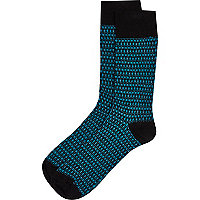 Teal tile print socks